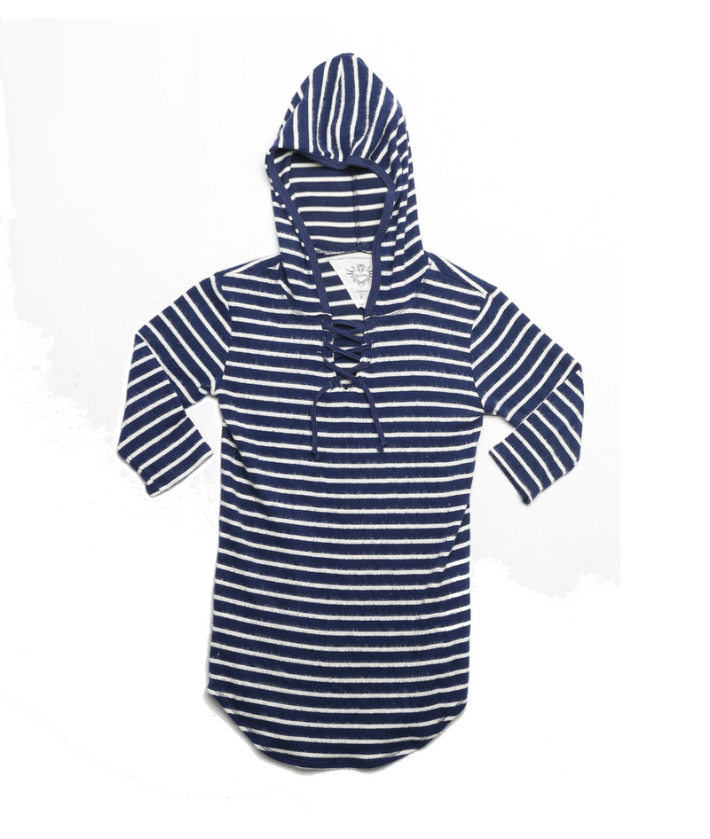 NAVY STRIPES 3/4 SLEEVE LACE HOODED TUNIC