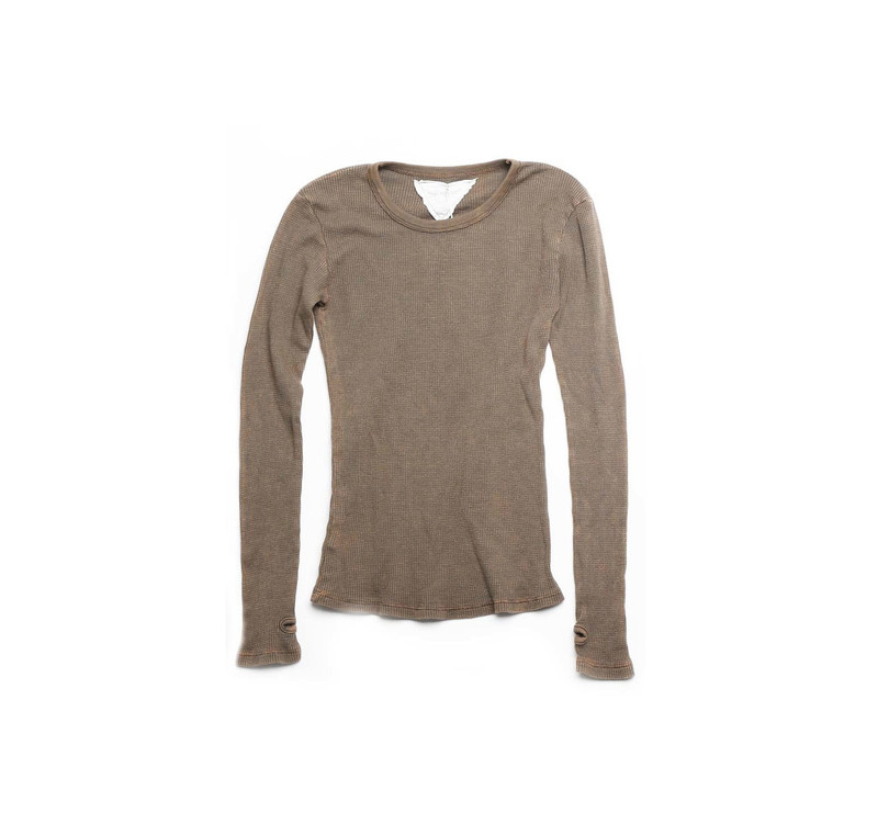 DARK OLIVE THERMAL MODAL LYCRA LONG SLEEVE CREW NECK WITH THUBHOLE