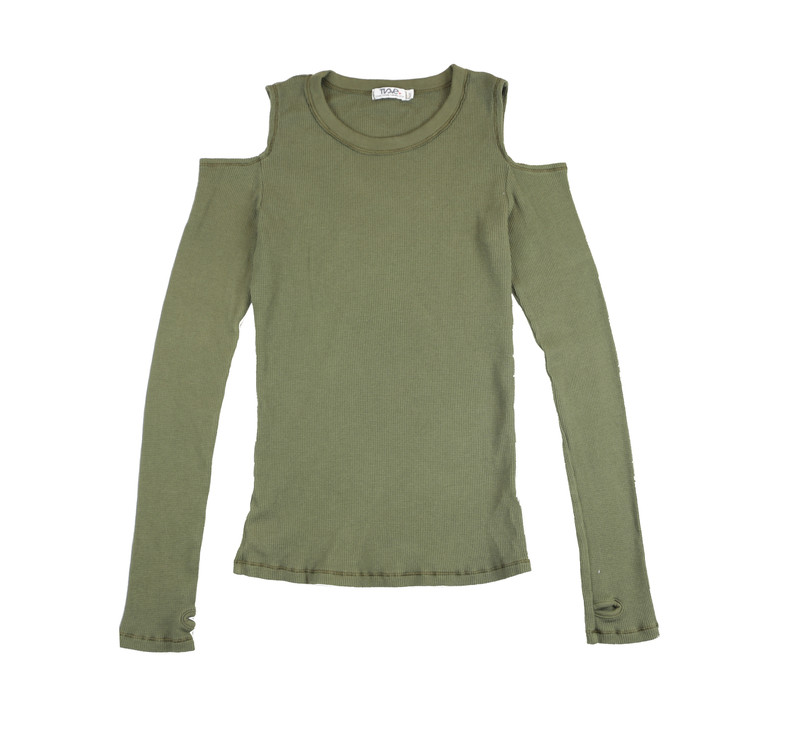 MD OLIVE THERMAL MODAL LYCRA L/S CUT SHOULDER TOP WITH THUMBHOLES