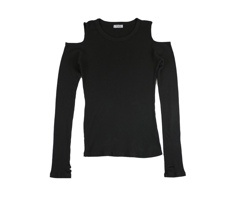 BLACK THERMAL MODAL LYCRA L/S CUT SHOULDER TOP WITH THUMBHOLES