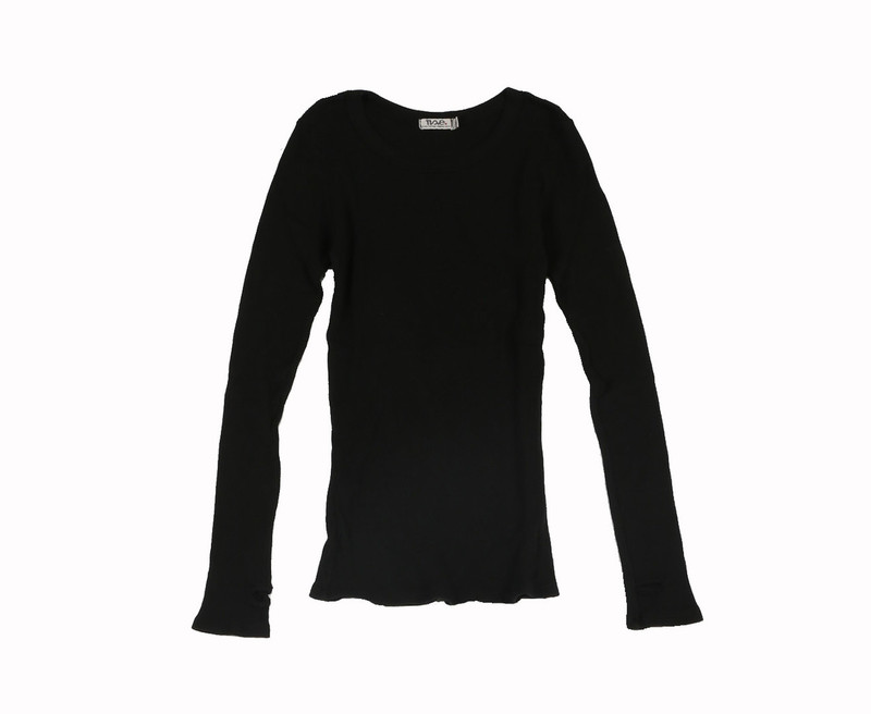 BLACK THERMAL MODAL LYCRA LONG SLEEVE CREW WITH THUMBHOLE