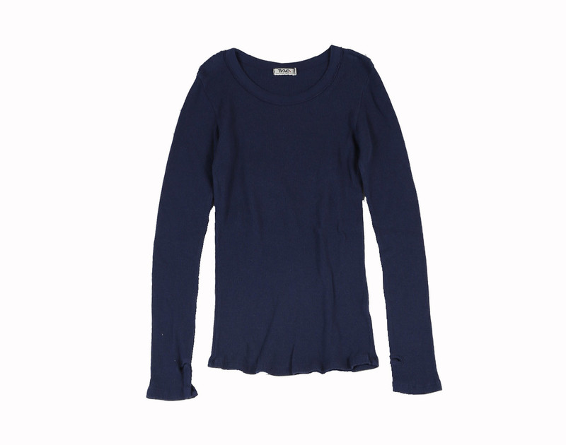 NAVY THERMAL MODAL LYCRA LONG SLEEVE CREW WITH THUMBHOLE