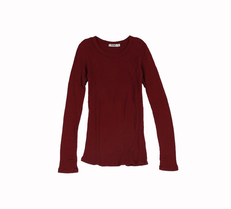 MERLOT THERMAL MODAL LYCRA LONG SLEEVE CREW WITH THUMBHOLE