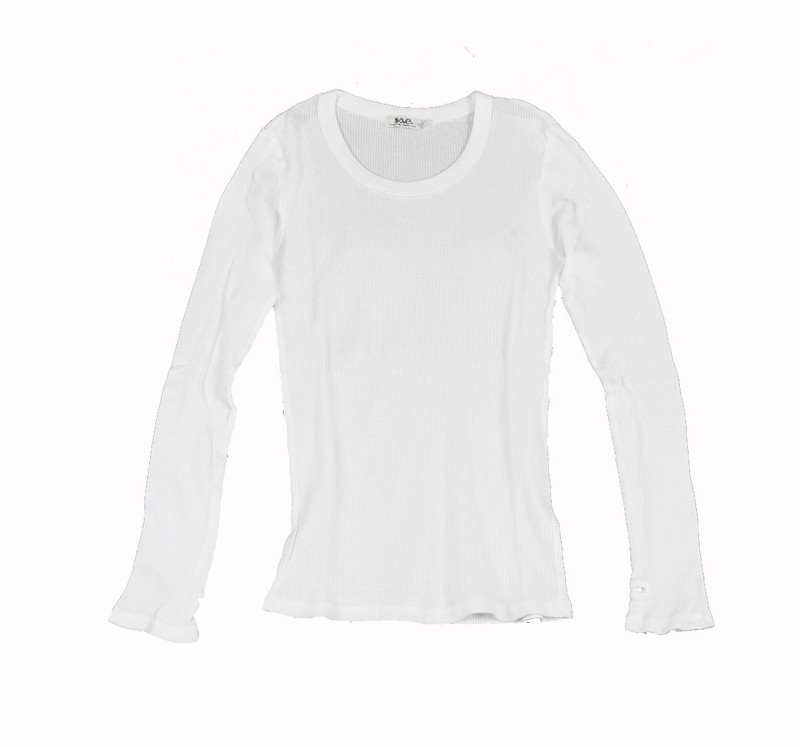 WHITE THERMAL MODAL LYCRA LONG SLEEVE CREW WITH THUMBHOLE