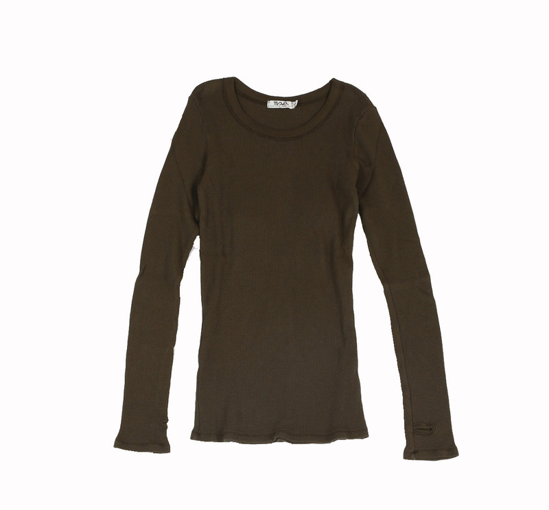 DARK OLIVE THERMAL MODAL LYCRA LONG SLEEVE CREW WITH THUMBHOLE