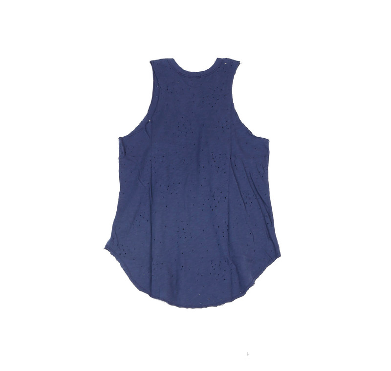 NAVY JERSEY TRI BLEND SLEEVELEES MUSCLE TOP