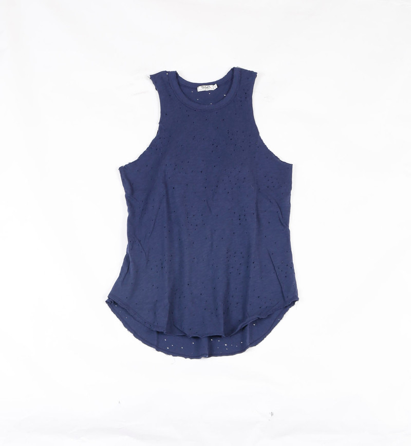NAVY JERSEY TRI BLEND SLEEVELEES MUSCLE TOP - BACKVIEW