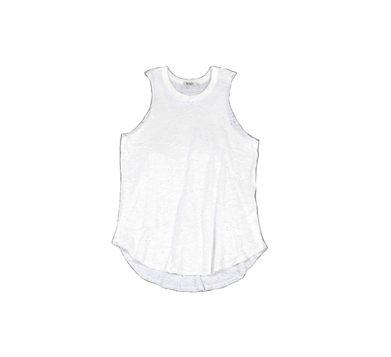 WHITE JERSEY TRI BLEND SLEEVELEES MUSCLE TOP