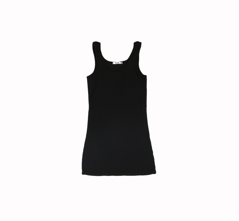 BLACK JERSEY COTTON MODAL LYCRA LAYER TANK TOP