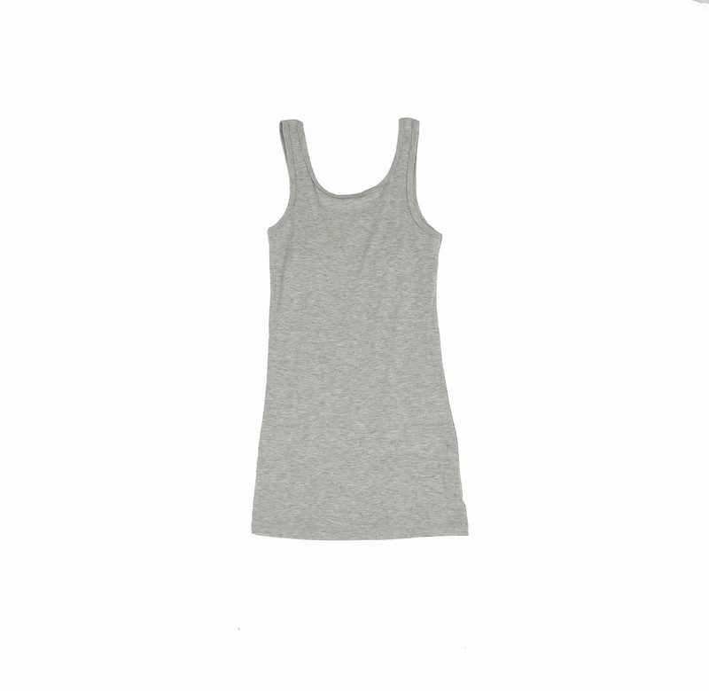 GREY HEATHER JERSEY C/M/L LAYER TANK TOP