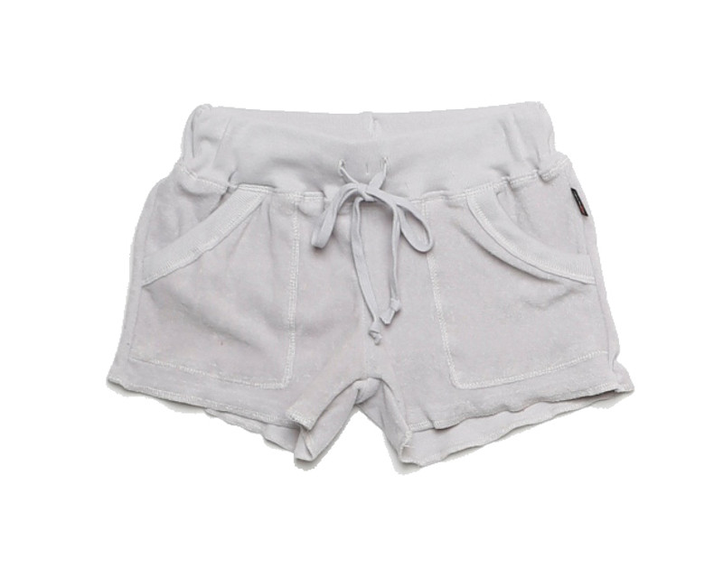 LIGHT GREY TERRY CLOTH COTTON SWEAT SHORT WITH POCKET