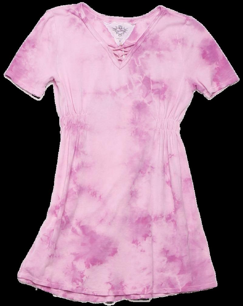 BALLERINA SHORT SLEEVE V-NECK LACE FRONT DRESS