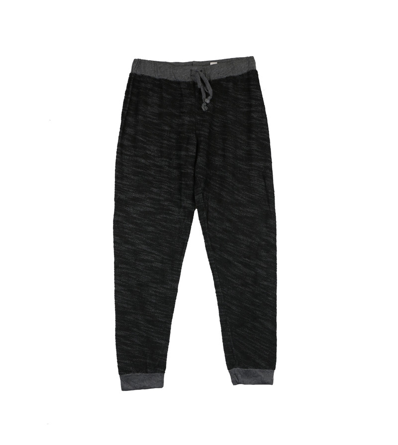BLACK CUFFED SWEAT PANTS WITH BACK POCKET