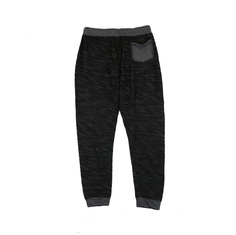 BLACK CUFFED SWEAT PANTS WITH BACK POCKET BACKVIEW