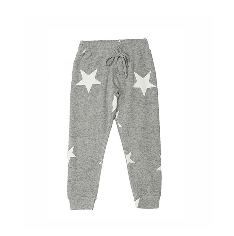 GREY HEATHER RAYON LOOP TERRY PRINT CUFFED SWEAT PANTS WITH BACK POCKET: WHITE STARS