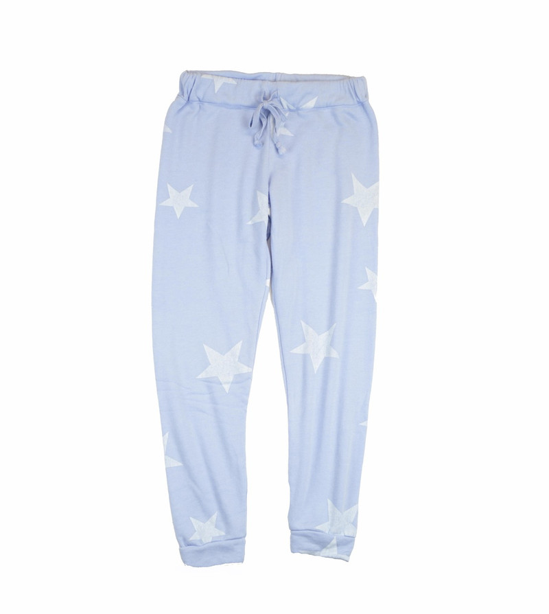 DREAM BLUE HEATHER RAYON LOOP TERRY PRINT CUFFED SWEAT PANTS WITH BACK POCKET: WHITE STARS