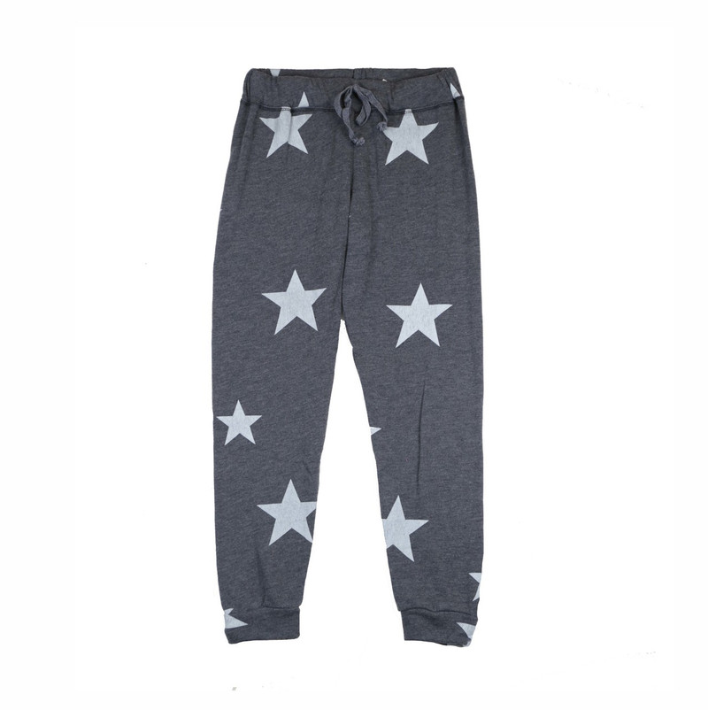 BLACK HEATHER RAYON LOOP TERRY  PRINT CUFFED SWEAT PANTS WITH BACK POCKET: WHITE STARS