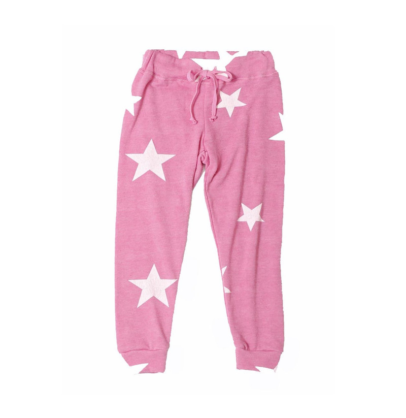 PINK HEATHER RAYON LOOP TERRY  PRINT CUFFED SWEAT PANTS WITH BACK POCKET: WHITE STARS