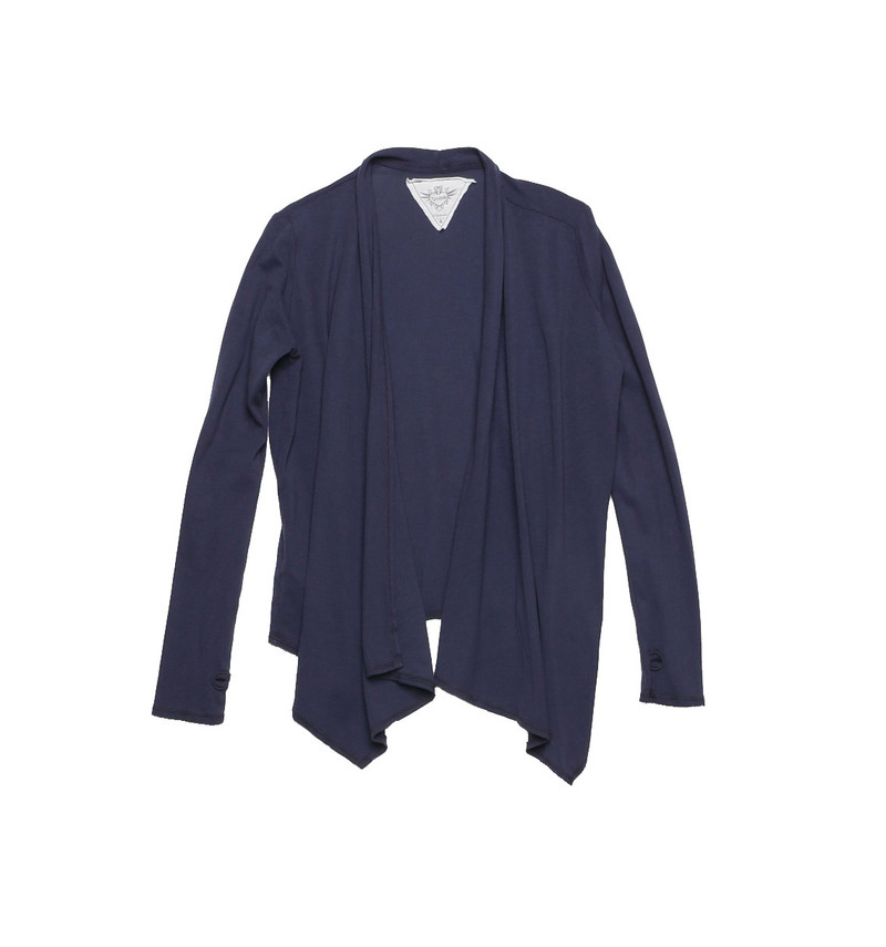 NAVY LONG SLEEVE WRAP WITH THUMBHOLE