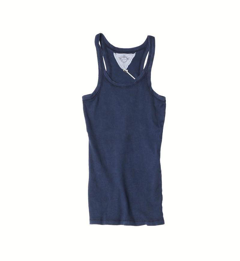 NAVY VINTAGE WASHED  2X1 RIB MODAL LYCRA TANK TOP