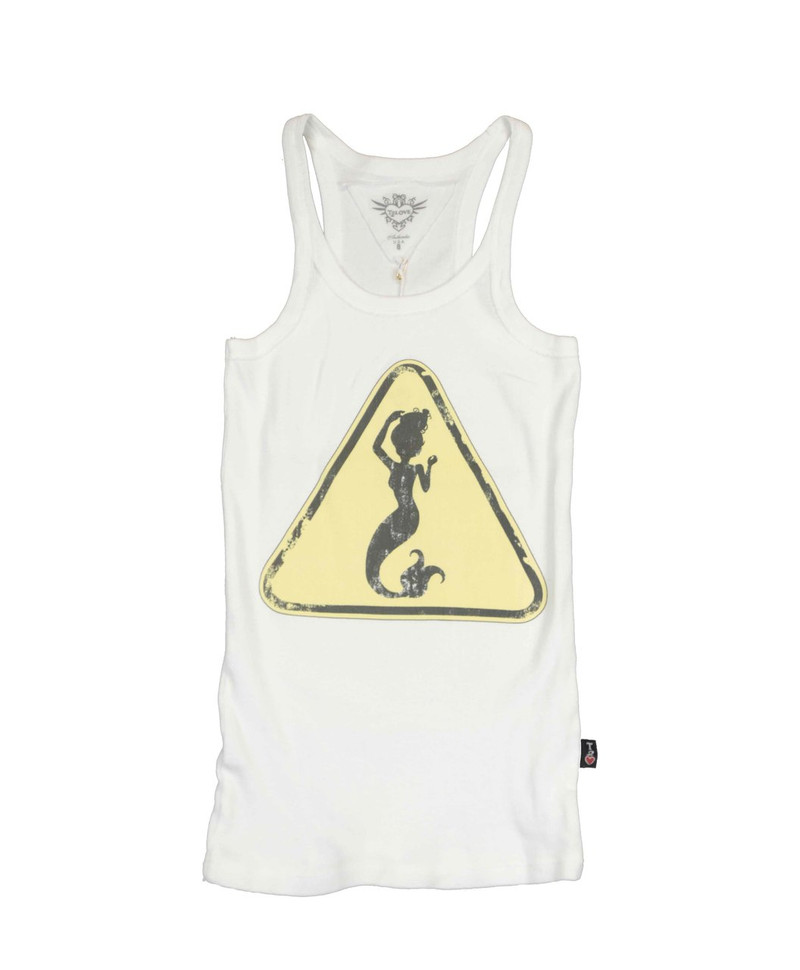WHITE 2X1 RIB MODAL LYCRA MERMAID SIGN SCREEN TANK TOP