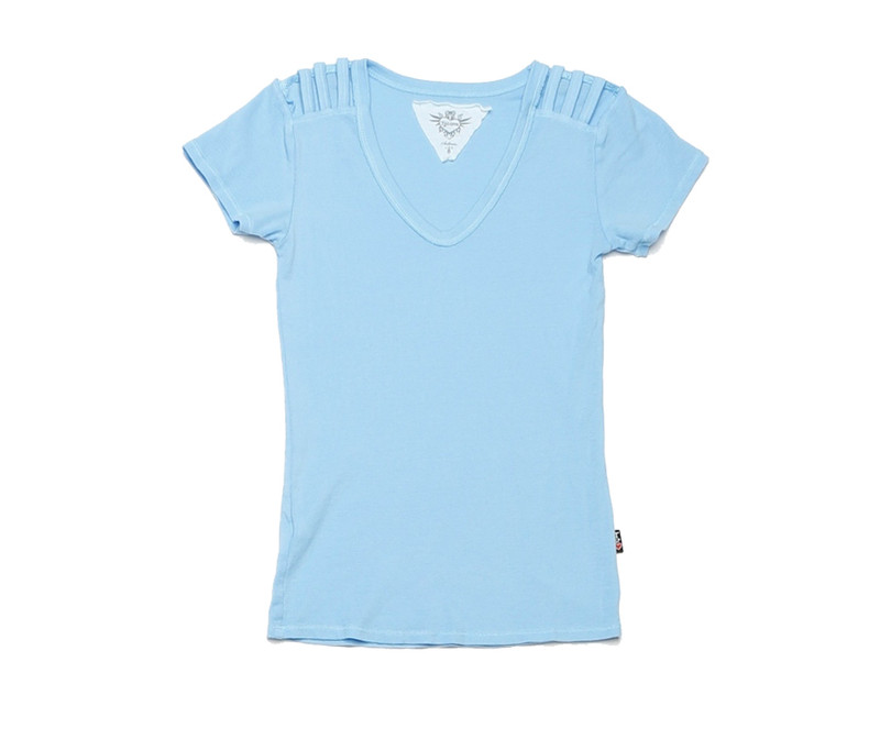 AIRY BLUE 1X1 RIB MODAL LYCRA 60S SHORT SLEEVE U-NECK WITH SHOULDER DETAIL