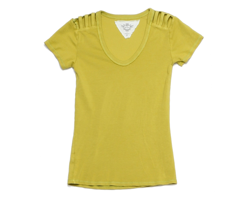 YELLOW 1X1 RIB MODAL LYCRA 60S SHORT SLEEVE U-NECK WITH SHOULD DETAIL