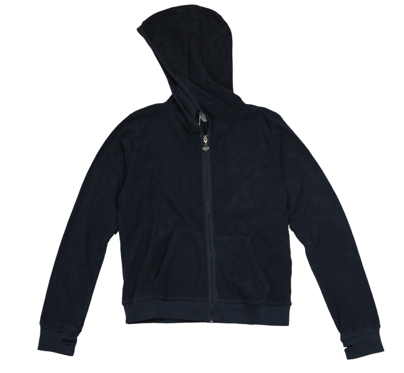 NAVY TERRY CLOTH COTTON HOODED ZIP JACKET WITH THUMBHOLE