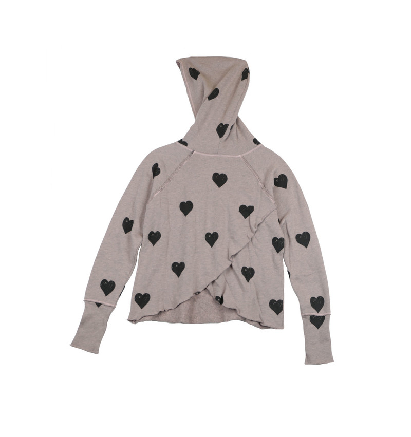 WINTER ROSE LONG SLEEVE TERRY FLEECE CROSS BACK HOODIE WITH PRINTED BLACK HEARTS - BACK VIEW