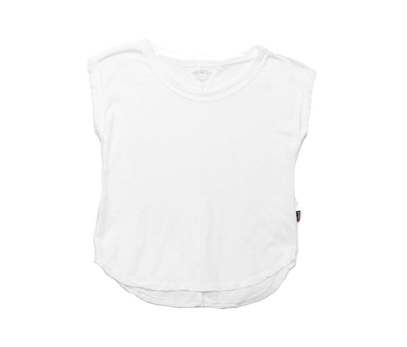 WHITE JERSEY MODAL SLUB LOOSE FIT MUSCLE TOP