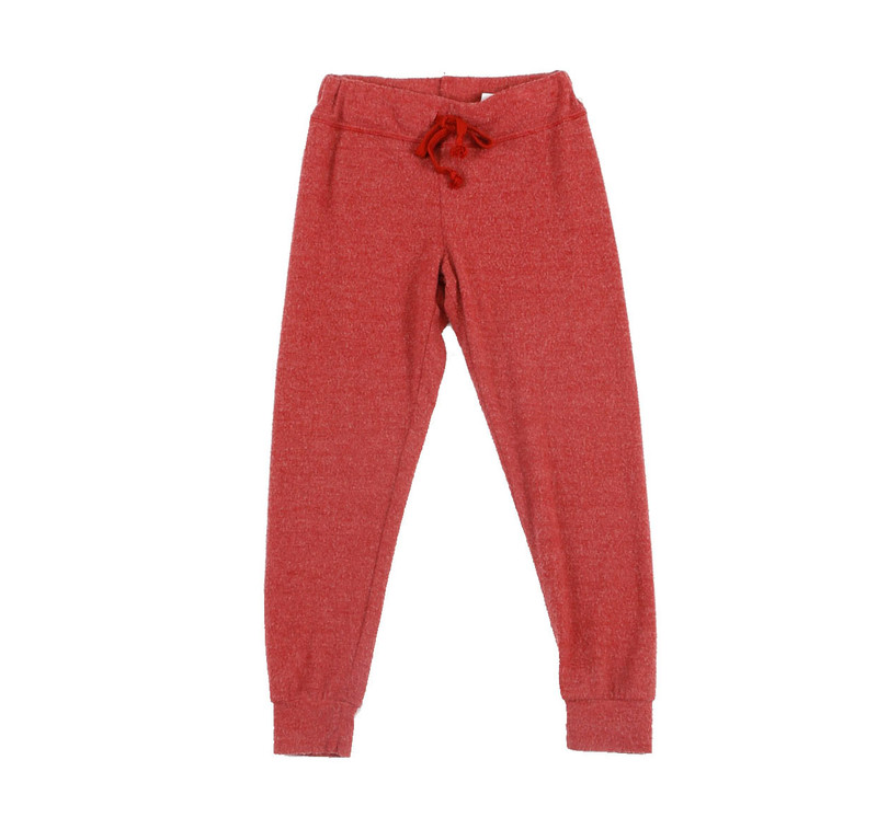DK ORANGE CUFFED HEATHER BRUSHED HACCI SWEAT PANTS WITH BACK POCKET