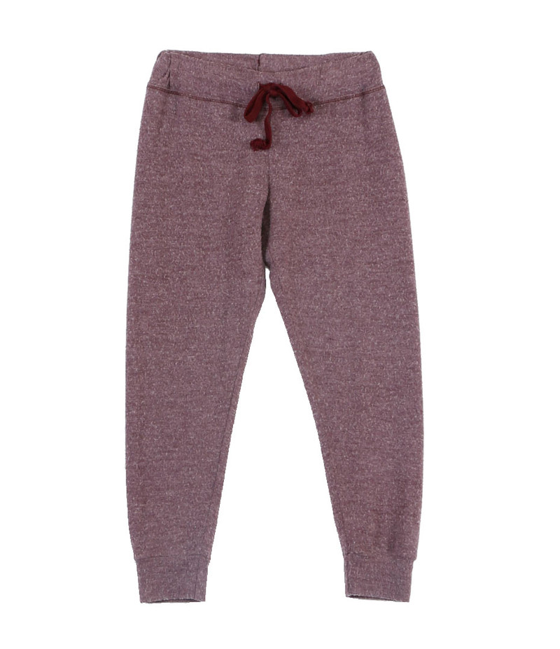 DK BURGUNDY CUFFED HEATHER BRUSHED HACCI SWEAT PANTS WITH BACK POCKET