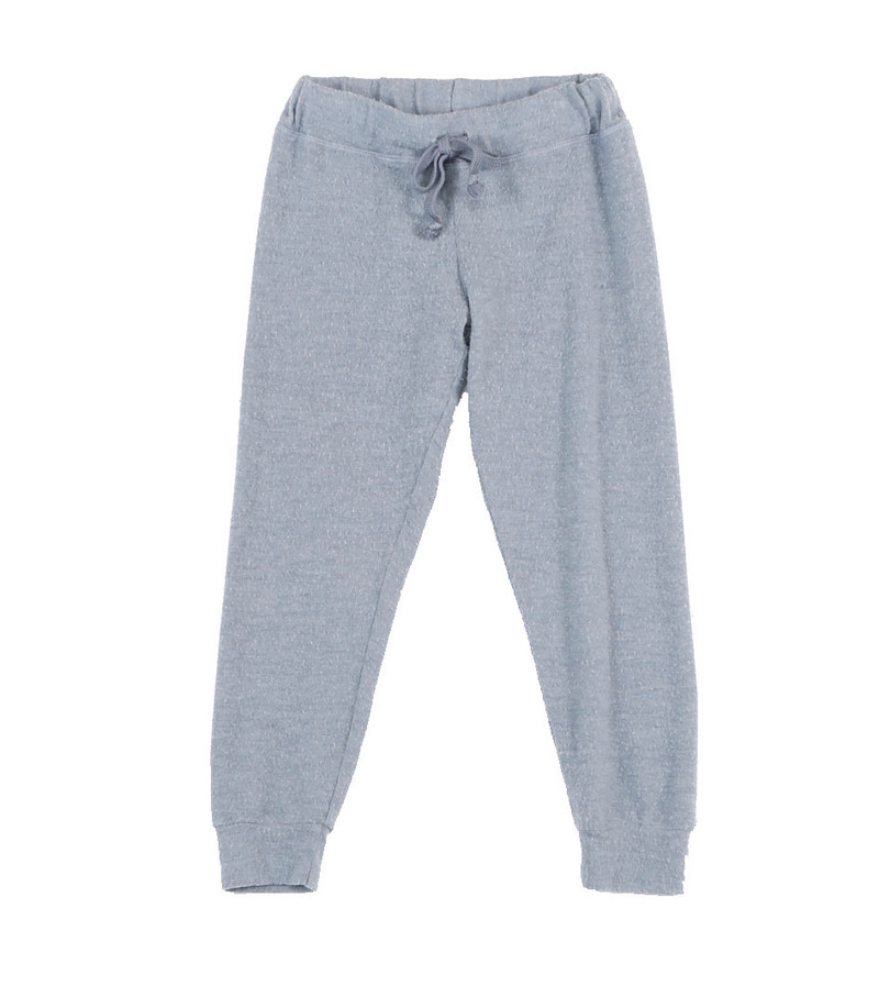 DENIM CUFFED HEATHER BRUSHED HACCI SWEAT PANTS WITH BACK POCKET