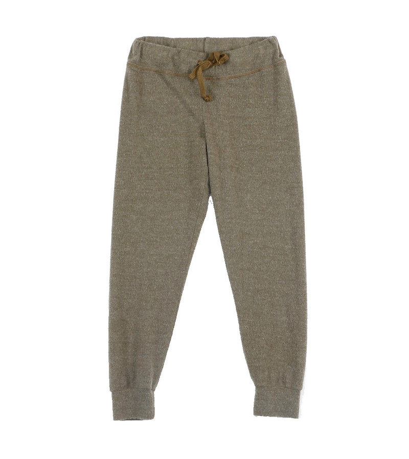 MD OLIVE CUFFED HEATHER BRUSHED HACCI SWEAT PANTS WITH BACK POCKET