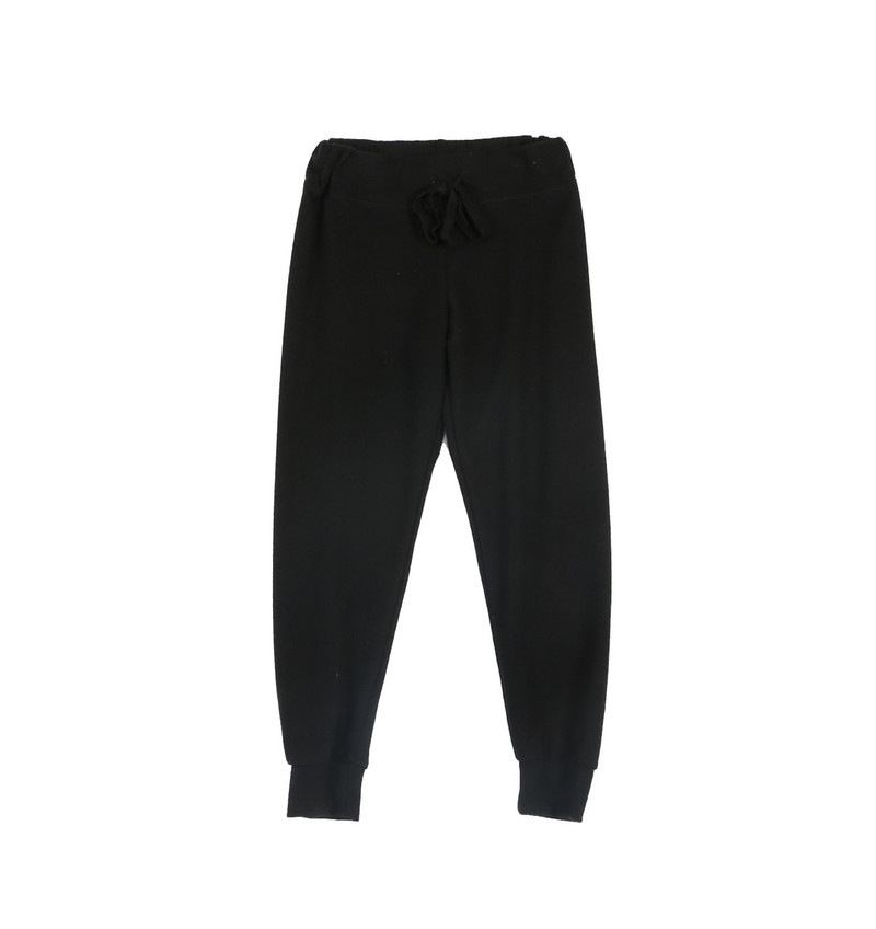 BLACK CUFFED HEATHER BRUSHED HACCI SWEAT PANTS WITH BACK POCKET
