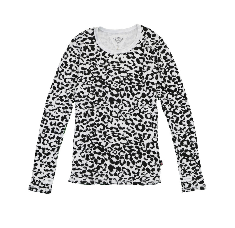 WHITE LEOPARD PRINT THERMAL MODAL LYCRA LONG SLEEVE CREWNECK WITH THUMBHOLES