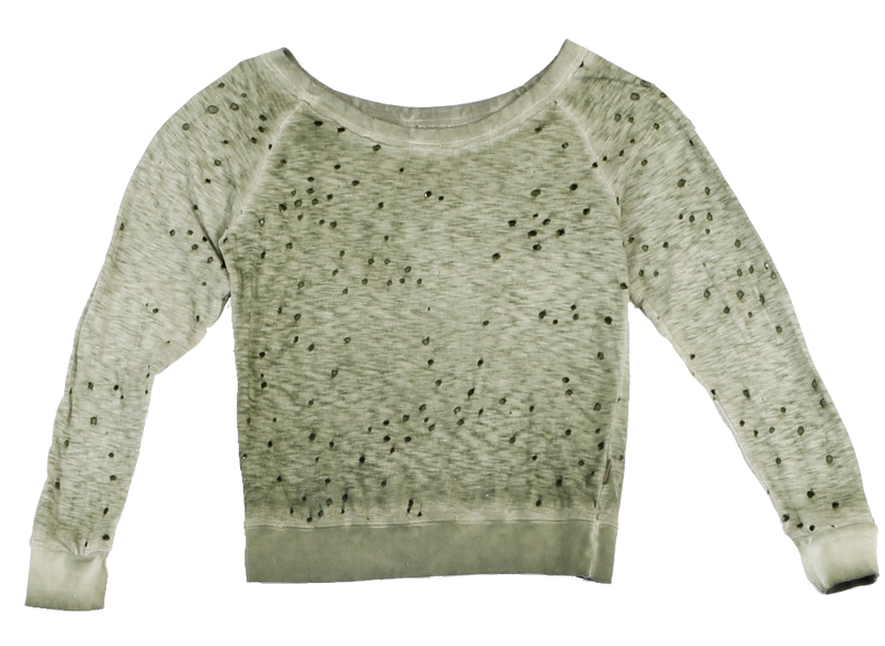 M. OLIVE VINTAGE WASHED JERSEY COTTON SLUB LONG SLEEVE CROSS BACK CREW FRONT VIEW