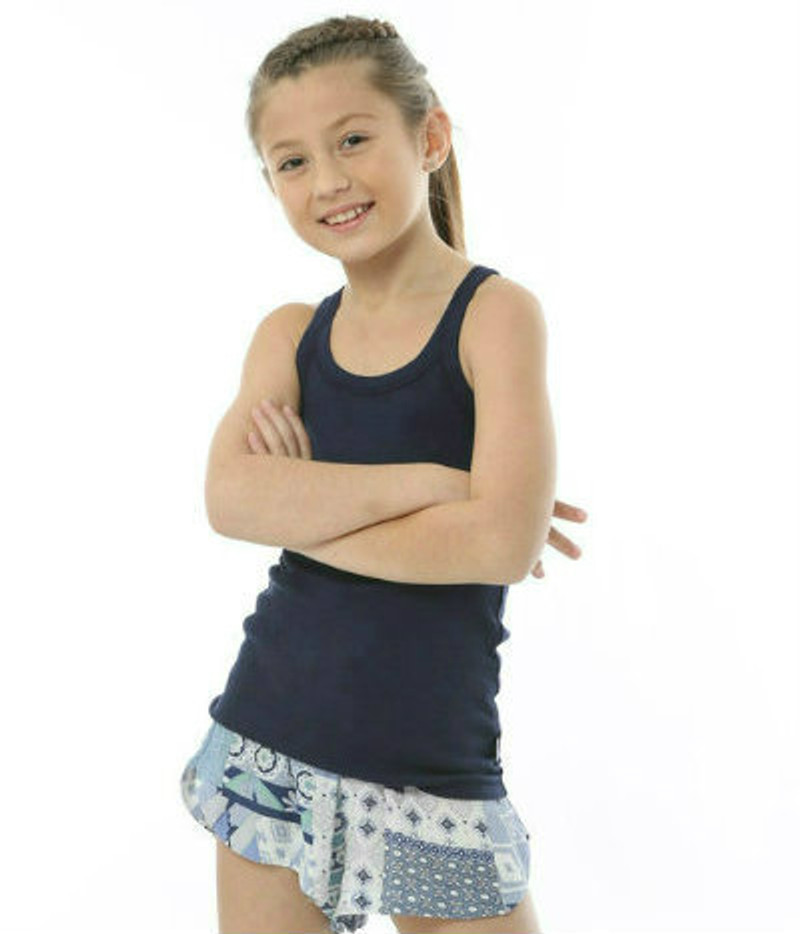 BLUE PATCH WORK GAUZE COZY SHORT WITH TANK TOP