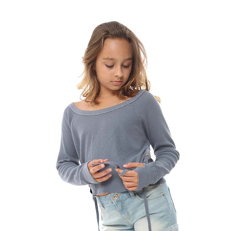 DENIM LONG SLEEVE THERMAL MODAL LYCRA CREW SIDE TIE WITH THUMBHOLE