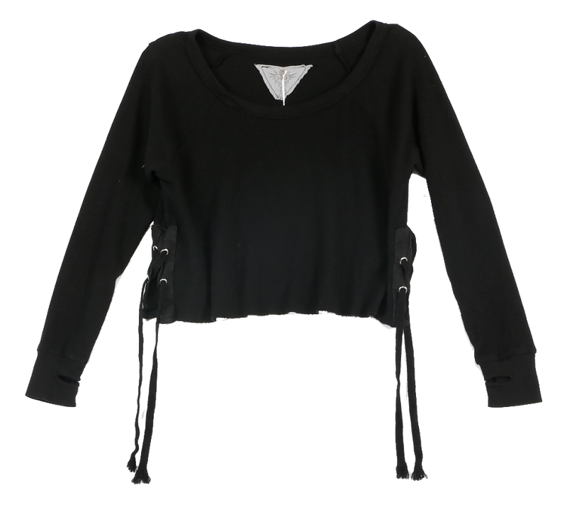BLACK LONG SLEEVE THERMAL MODAL LYCRA CREW SIDE TIE WITH THUMBHOLE