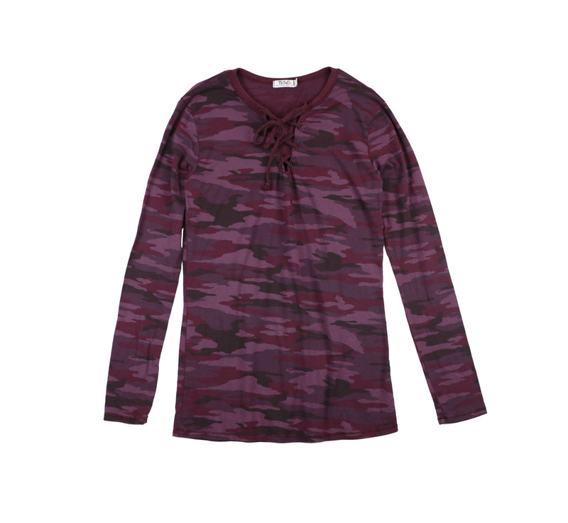 DK BURGUNDY CAMO LONG SLEEVE JERSEY MODAL LYCRA LACE UP FRONT TEE