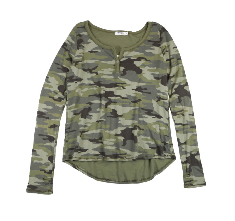 MD OLIVE CAMO LONG SLEEVE RIB HENLEY TOP WITH THUMBHOLES