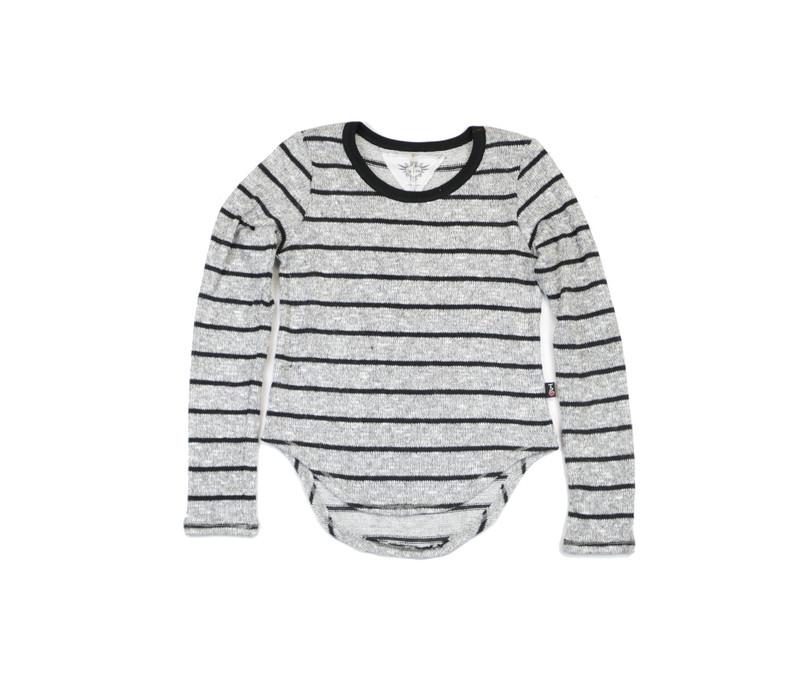 HEATHER GREY LONG SLEEVE SWEATER KNIT CREW WITH BLACK STRIPES