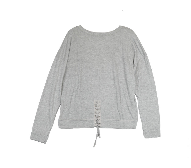 BLUE GREY JERSEY COTTON HOLEY SLUB LONG SLEEVE LACE BACK CREW TOP - BACK VIEW