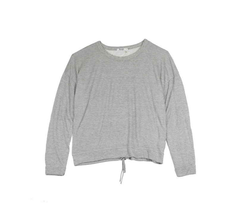 GREY HEATHER LONG SLEEVE LACE BACK CREW TOP