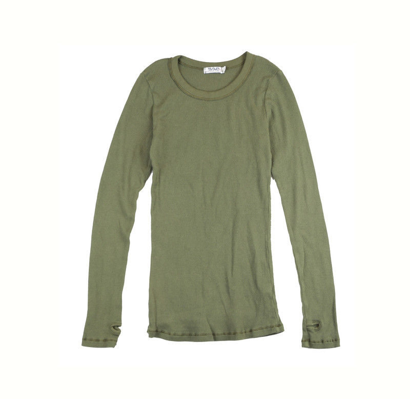 MED OLIVE THERMAL MODAL LYCRA LONG SLEEVE CREW WITH THUMBHOLE