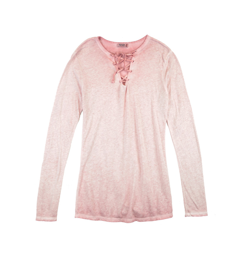 MAUVE JERSEY MODAL LYCRA LONG SLEEVE LACE FRONT  TEE