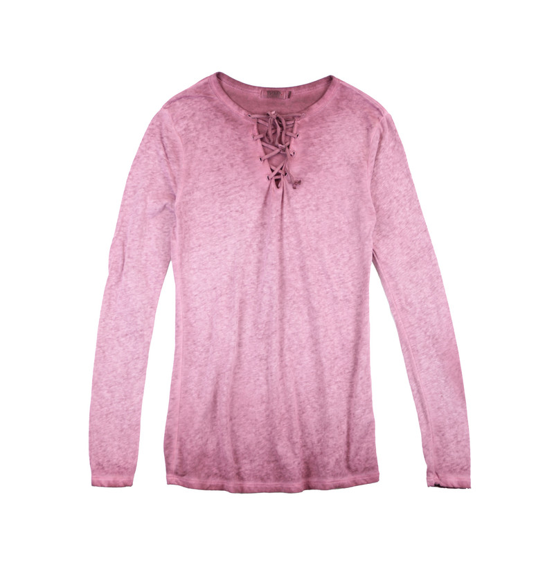 D BURGUNDY JERSEY MODAL LYCRA LONG SLEEVE LACE FRONT  TEE
