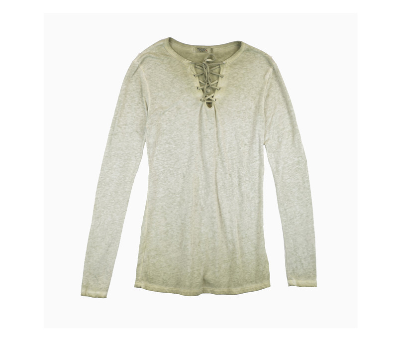 MD OLIVE JERSEY MODAL LYCRA LONG SLEEVE LACE FRONT  TEE