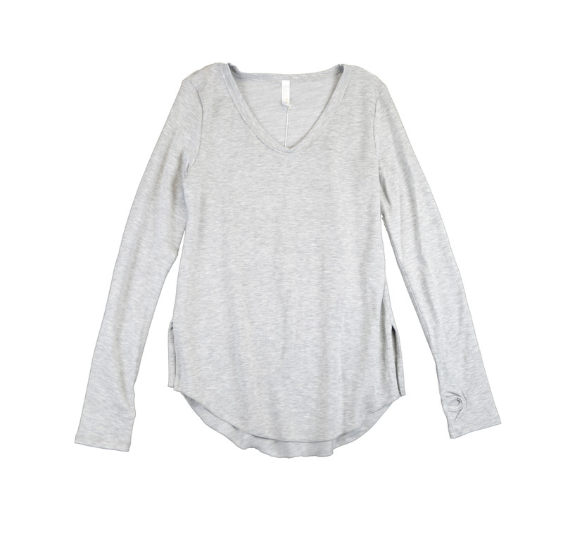 GREY HEATHER FRENCH TERRY SIRO MODAL LONG SLEEVE U-NECK TOP WITH THUMBHOLES